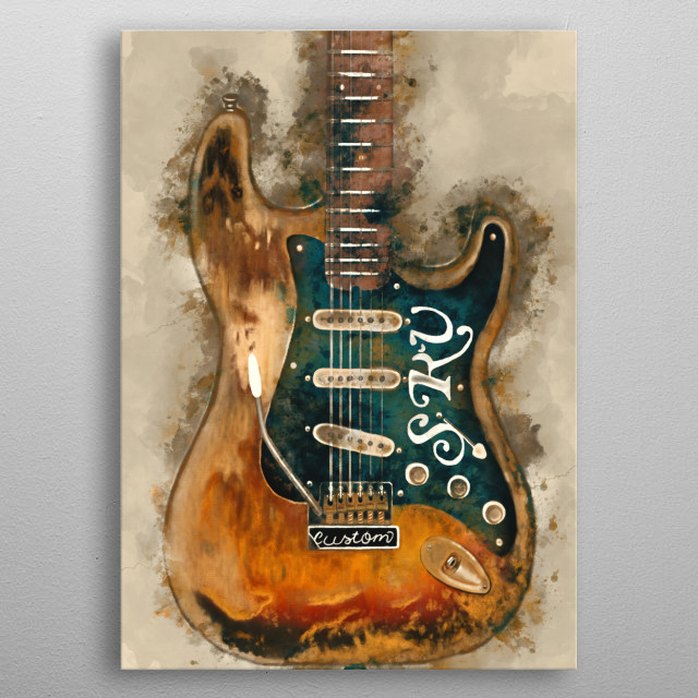 Stevie Ray's guitar. Hand painted digital music poster caricature image with photoshop effects. Best gift for every rock music lovers.  metal poster