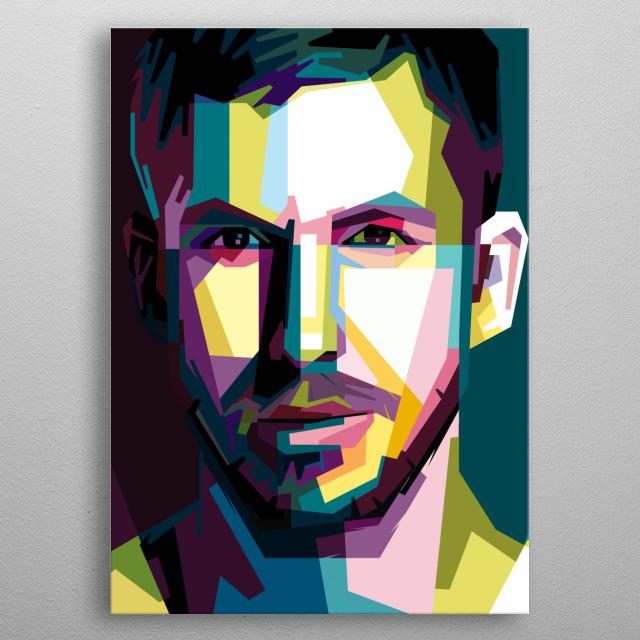 Wedha's Pop Art Portrait of a musician, Calvin Harris metal poster