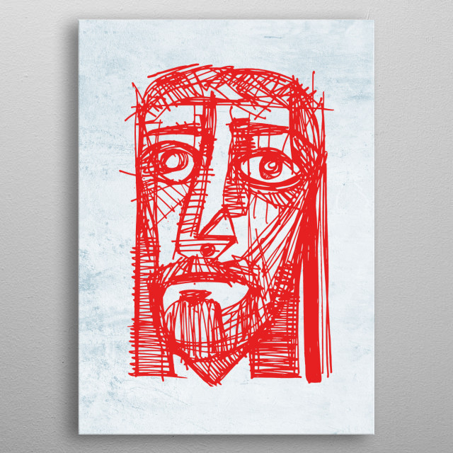 Hand drawn illustration or drawing of Jesus Christ face at his Passion metal poster