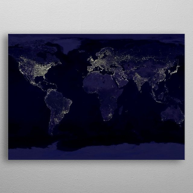 Night Earth view from space. 3D rendering metal poster