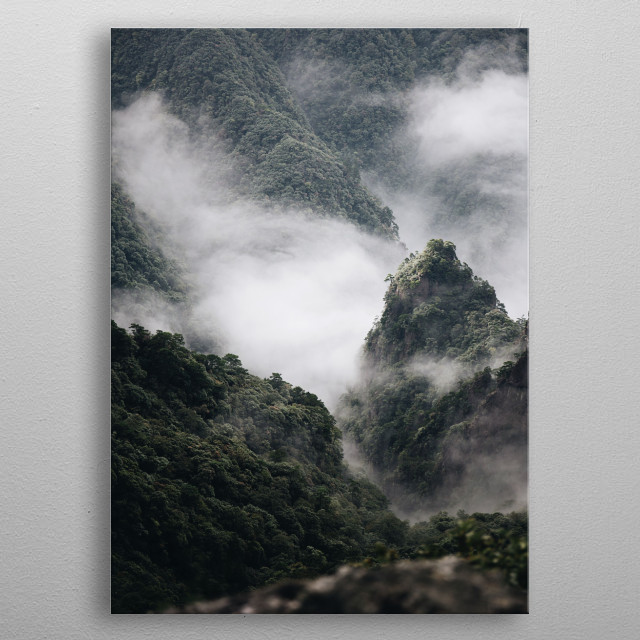 Fog in the Mountains metal poster