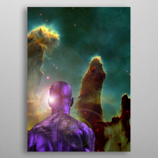 Man with electric circuit pattern on his skin stands before nebula in deep space. 3D rendering. Some elements provided courtesy of NASA. metal poster