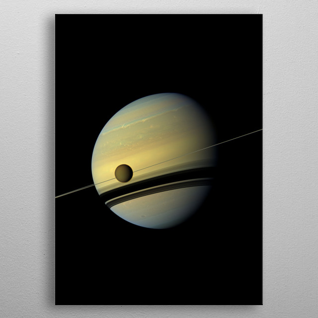 Saturn is the sixth planet from the Sun and the second-largest in the Solar System, after Jupiter. metal poster