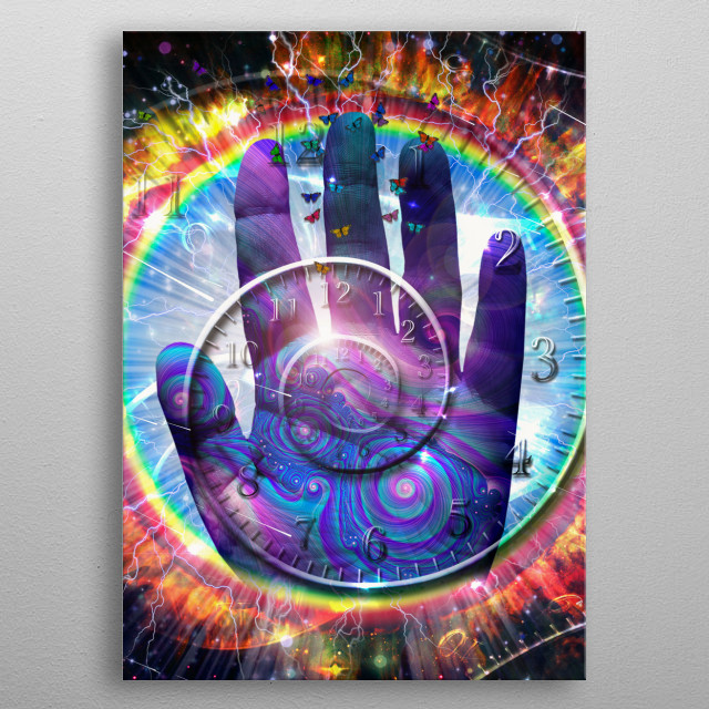 Vivid galaxy. Spiral of time and palm hand metal poster