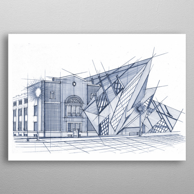 Blue Prints is Studio 324's hand drawn illustrations of Toronto's landmarks, This is architect Libeskind's contemporary addition to the ROM. metal poster