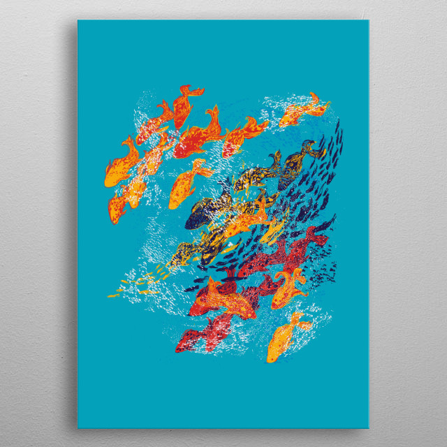 fishes and fishes metal poster