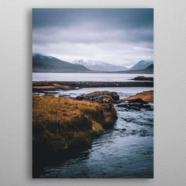 A photograph of a stream in iceland at Kirkjufellfoss metal poster