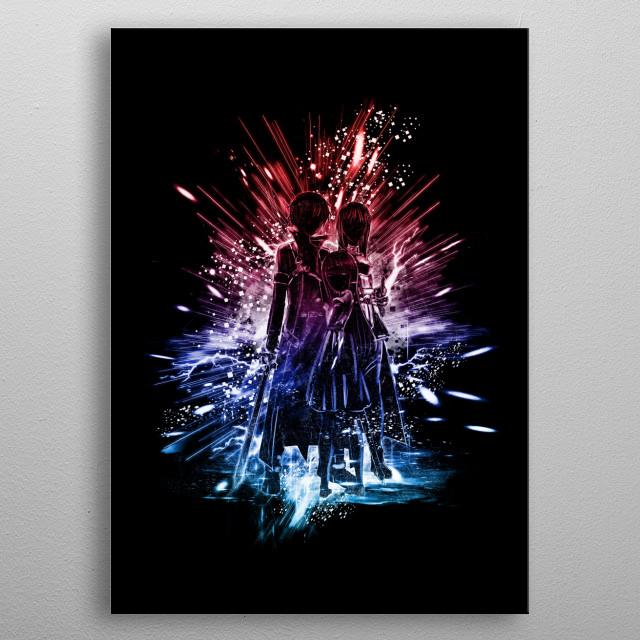 Kirito ,Asuna  metal poster