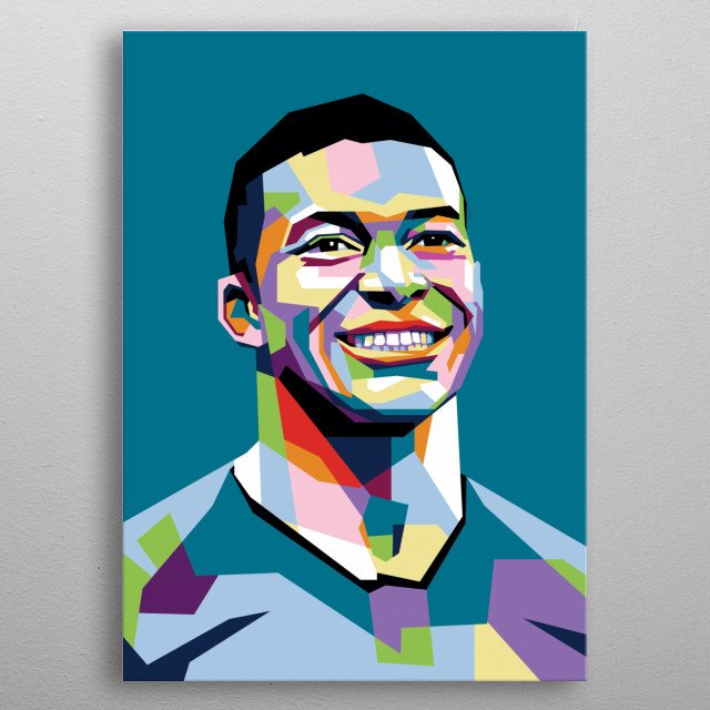 Kylian Mbappe in WPAP Modern. He Is A Professional Player In PSG metal poster