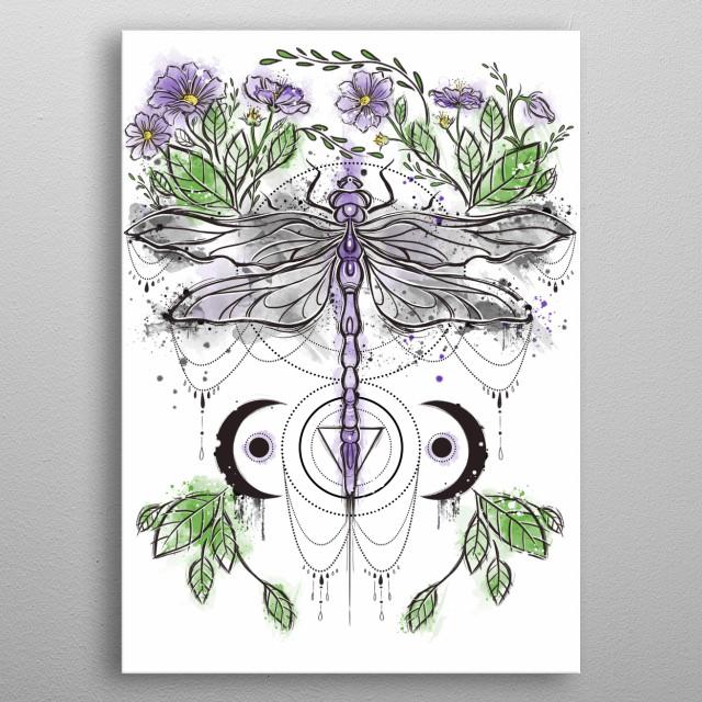 Watercolors tattoo illustration metal poster