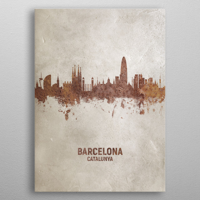 Art print of the skyline of Barcelona, Spain. Rust on concrete. metal poster