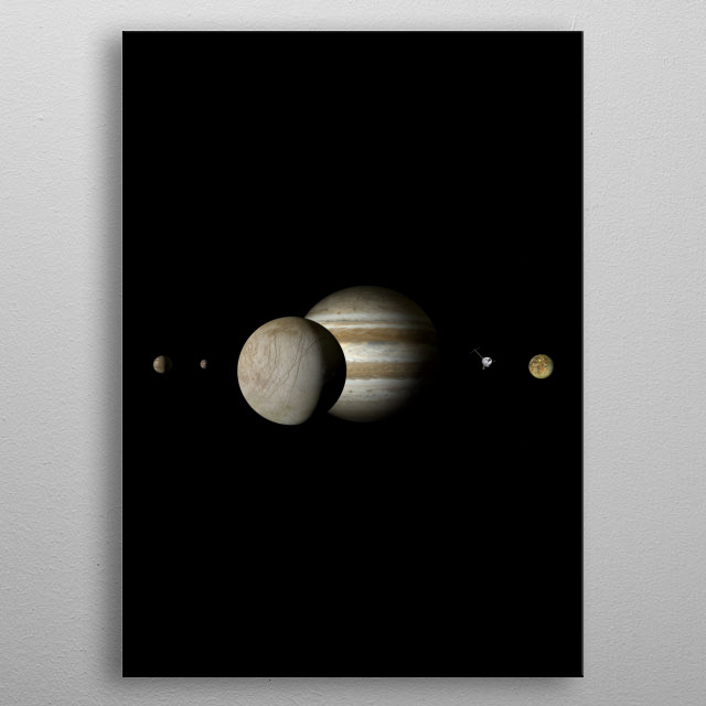 Jupiter is the fifth planet from the Sun and the largest in the Solar System. metal poster