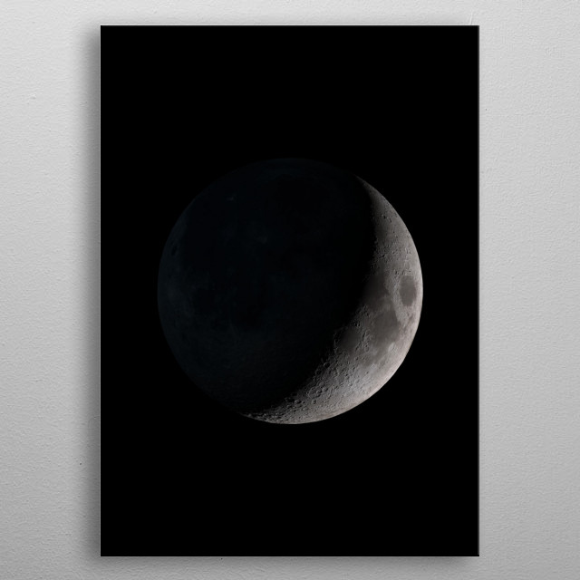 The Moon is an astronomical body that orbits planet Earth and is Earth's only permanent natural satellite. metal poster