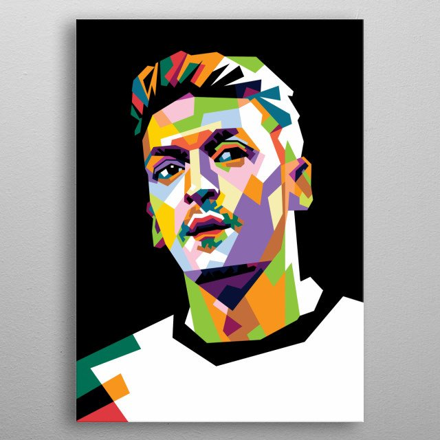 Mesut Ozil in WPAP Modern. He Is A Professional Player In Arsenal  metal poster