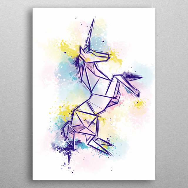 Origami watercolors illustration. metal poster