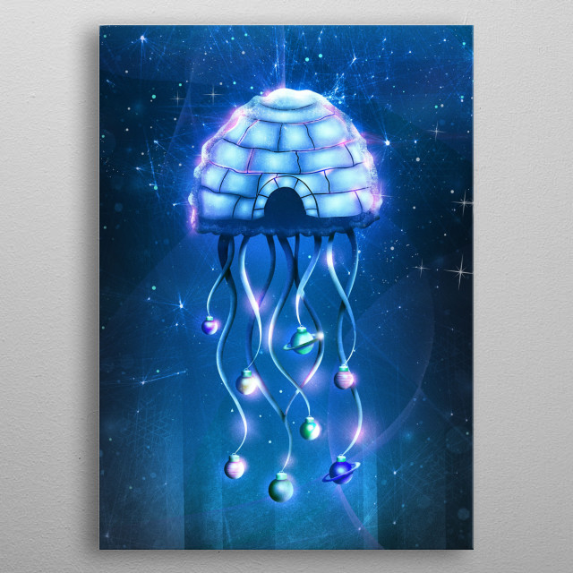 This christmas jellyfish is a strange and unusual creature. Dive into the deep blue indigo sea and enjoy this igloo in space.  metal poster