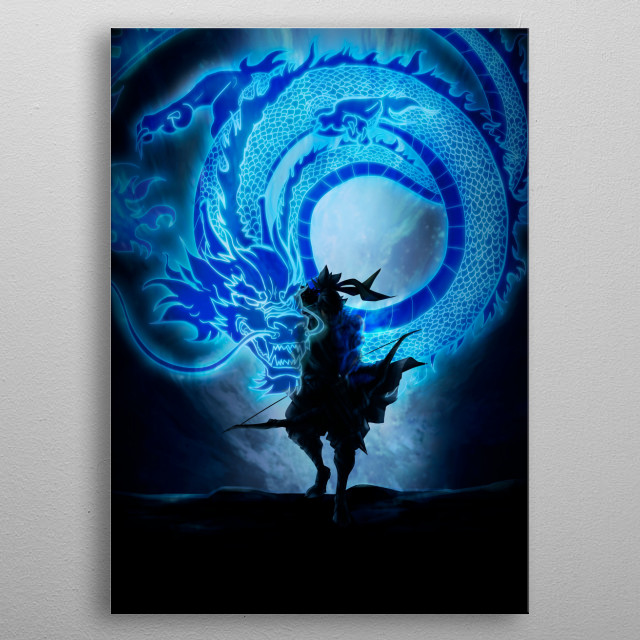 Eastern ancient dragon warrior metal poster