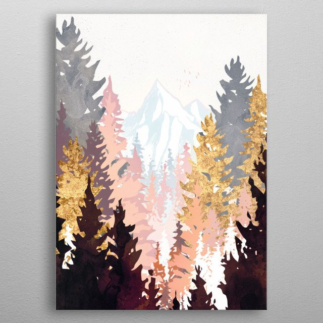 Abstract landscape of a wine colored forest with gold, mountains and birds metal poster