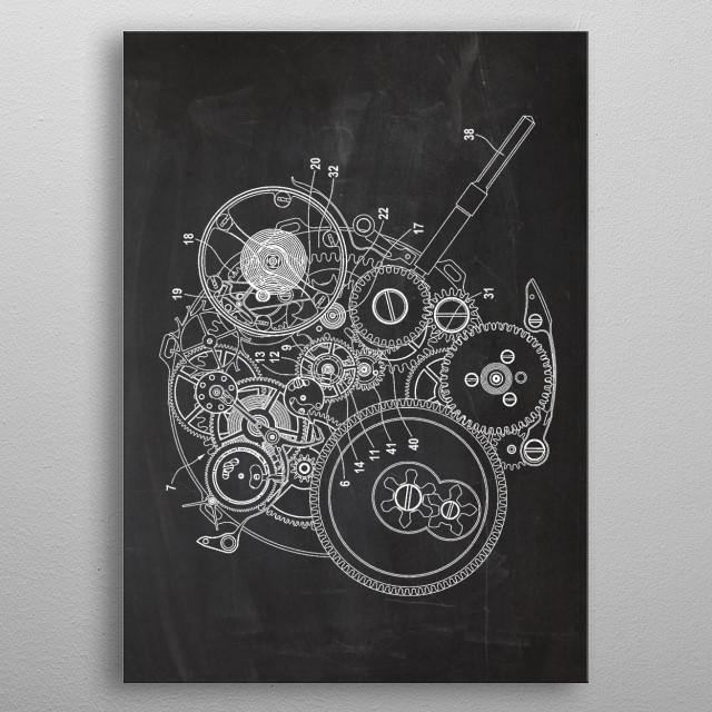 Watch Mechanism - Patent Drawing metal poster