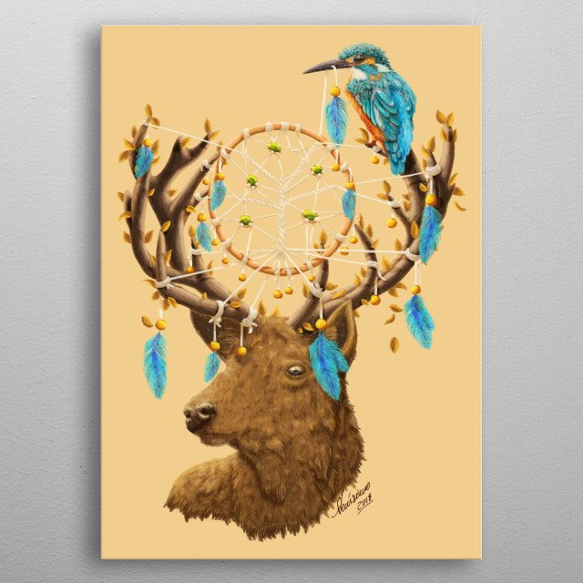 Digital Painting of a Deer with a bird and dreamcatcher. ©2018 Diogo Veríssimo  metal poster