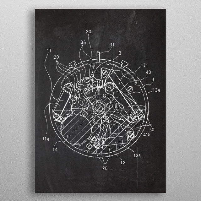 Watch Mechanism - Patent Drawing metal poster