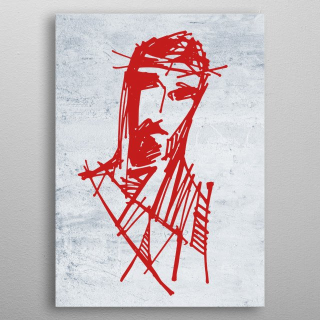 Hand drawn illustration or drawing of Jesus Christ at his Passion metal poster