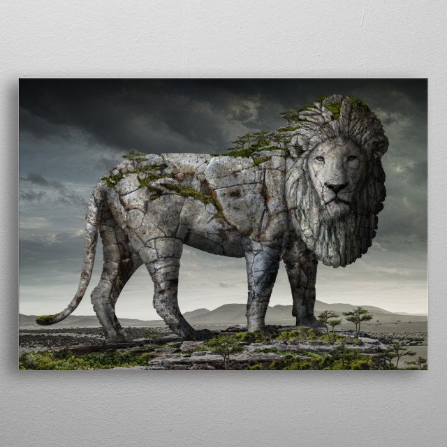 One from big serie of animal landscape. metal poster