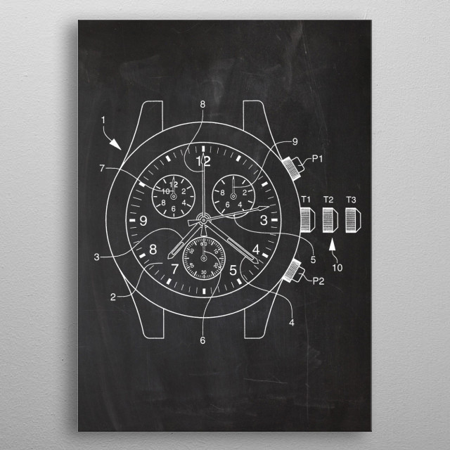 Electronic Chronograph - Patent Drawing metal poster
