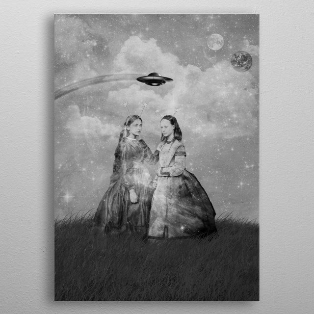 A surreal collage of two alien girls standing in a grassy field with a UFO flying in the distance, and the moon and earth in the background. metal poster