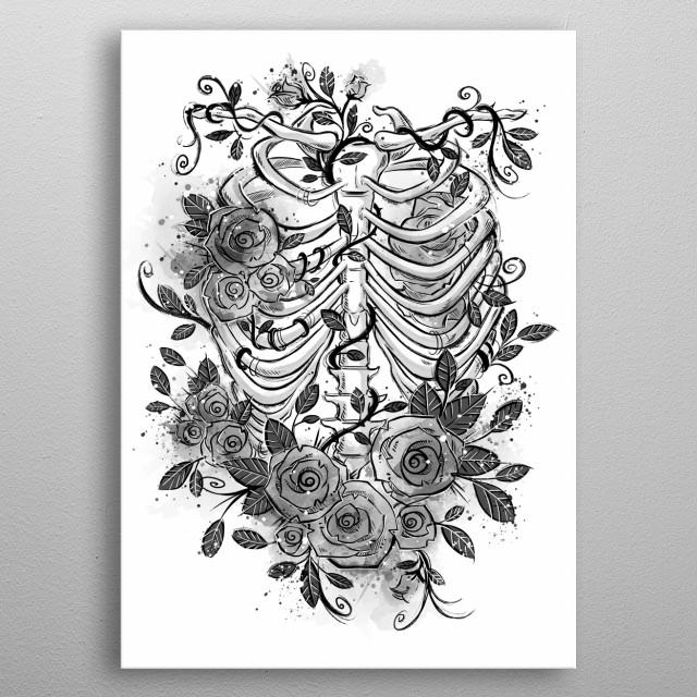 Romantic tattoo illustration. metal poster