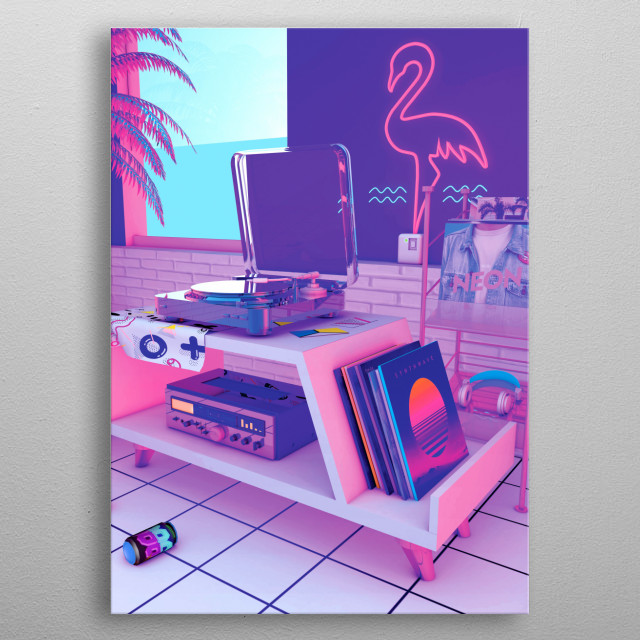 Retro Design That inspired by synthwave music scene featuring Turntable and vinyl metal poster