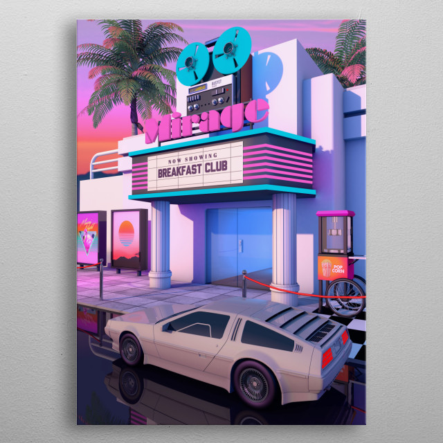 80's Aesthetic Nostalgia, A Retro Design That inspired by 80s scene and synthwave music metal poster