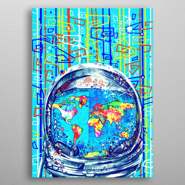 Astronaut world map inspired by decorative,colorful,space,abstract,pop art design metal poster
