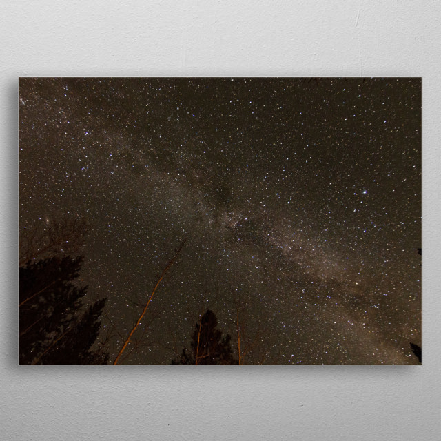 Milkyway Galaxy over Northern British Columbia at night. metal poster
