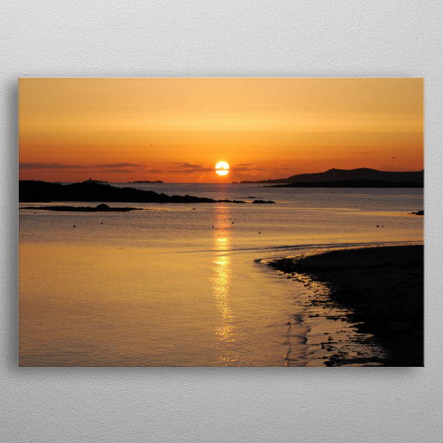 Gorgeous sunset over the sea at Rhosneigr, Anglesey,photo taken in springtime. metal poster