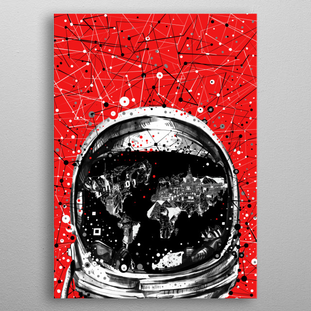 Astronaut world map inspired by decorative,retro,space,pop art design metal poster