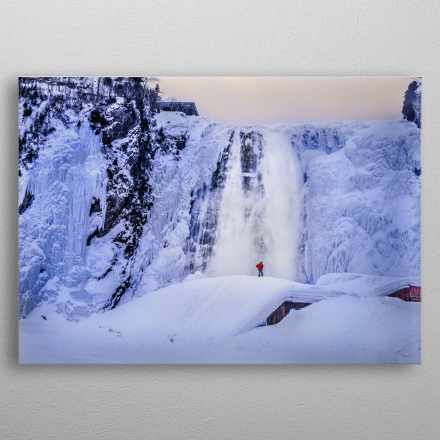 Large waterfall on the Montmorency River in Parc de la Chute-Montmorency,Quebec, Canada without the actual bridge metal poster