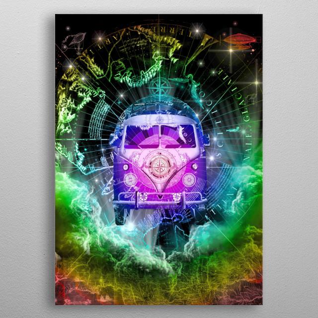 Vintage galaxy travel art metal poster
