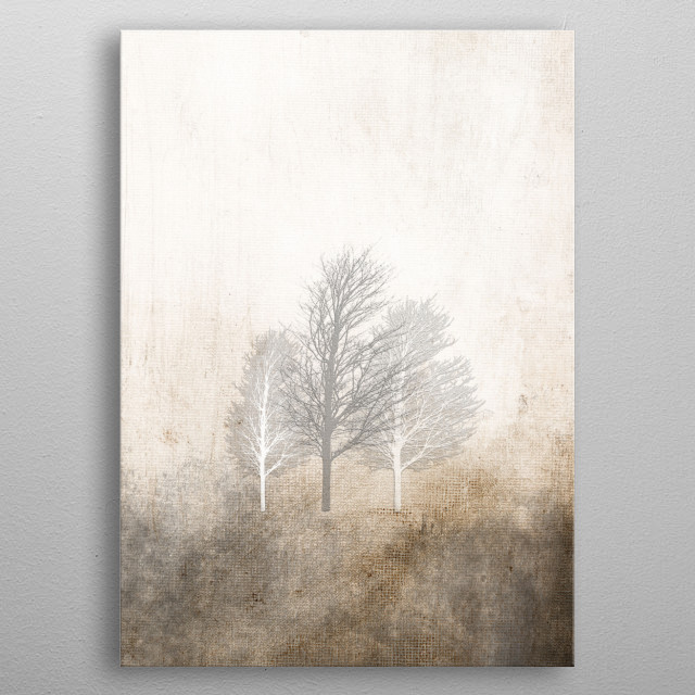 In the mood of german November.  Painting on canvas and trees drawings ©2015/2018 by Pia Schneider [atelier COLOUR-VISION] metal poster