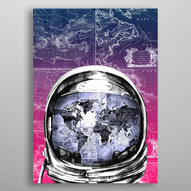 Astronaut world map inspired by decorative,space,vintage,pop art design metal poster