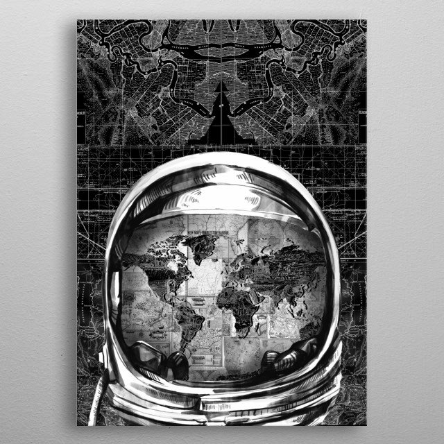 Astronaut world map inspired by decorative,black and white,cosmos,space,pop art design metal poster