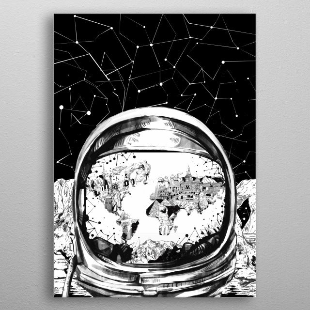 Astronaut world map inspired by decorative,black and white,drawing,space,design metal poster
