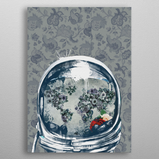 Astronaut world map inspired by decorative,floral,pop art design metal poster