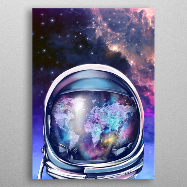 Astronaut world map inspired by decorative,surreal,space,pop art design metal poster