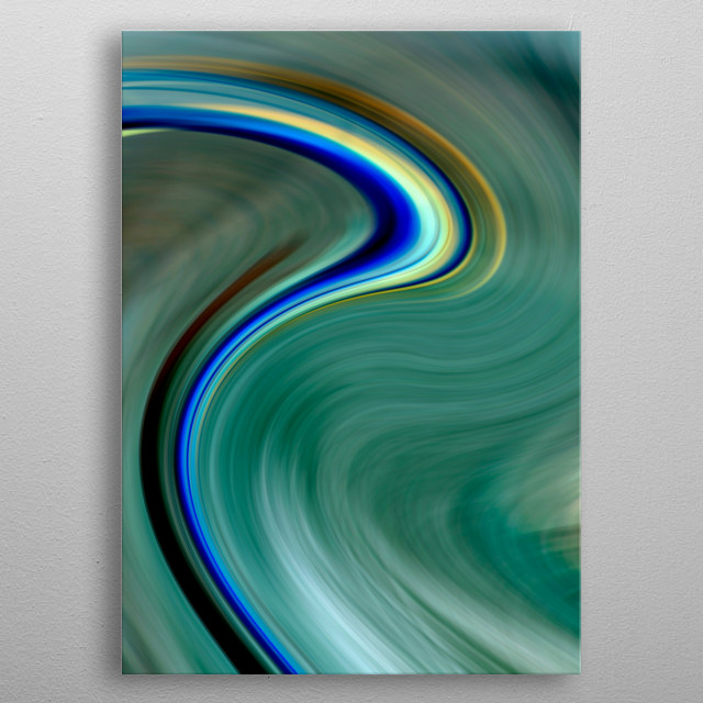 Abstract art created from a digital photo of the sea at Rhosneigr, Anglesey metal poster