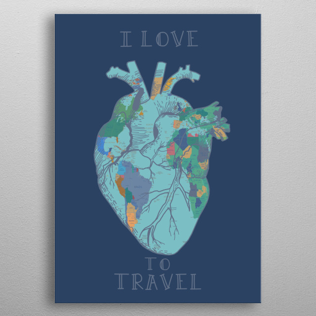 Human heart inspired by decorative,retro,cartography,pop art design metal poster