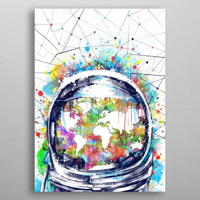 Astronaut world map inspired by decorative,pop art,watercolor,space design metal poster