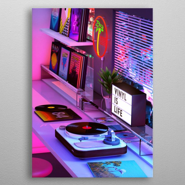 Retro Aesthetics Nostalgia Artwork inspired by synthwave music scene metal poster