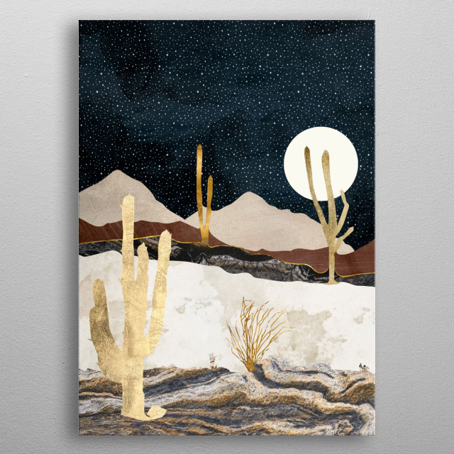 Abstract depiction of a desert view with stars, gold, brown and bronze metal poster