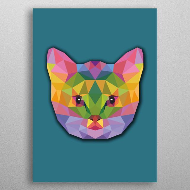 cat lowpoly geometric metal poster